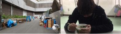 ブルーシートや板・ダンボールで道に住むところが作られている場面、カップラーメンを食べる人の2枚の写真